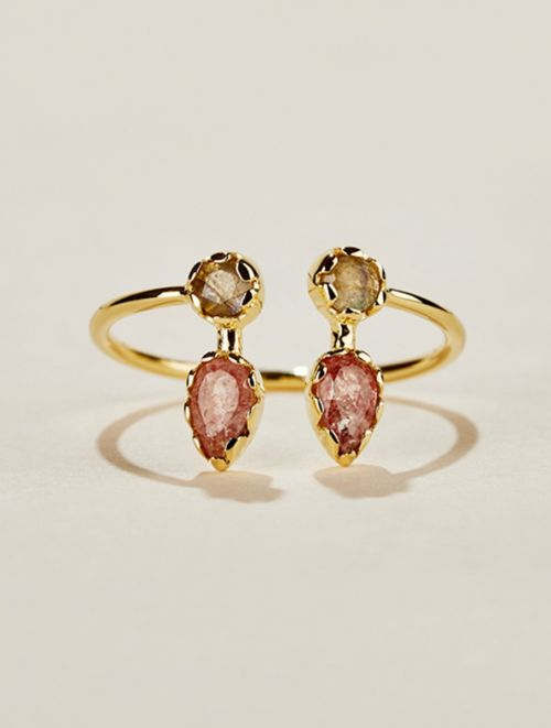 Safra Ring - Strawberry Quartz and Labradorite