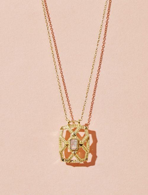 Saba Long Necklace - Moonstone