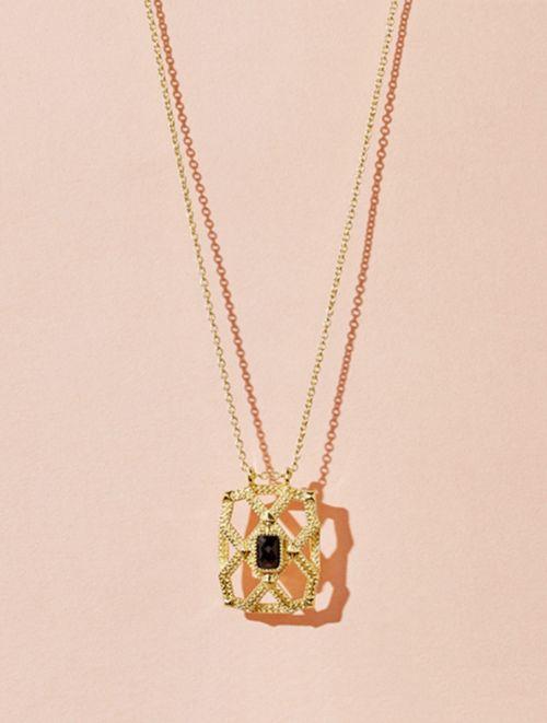 Saba Long Necklace - Textured Onyx