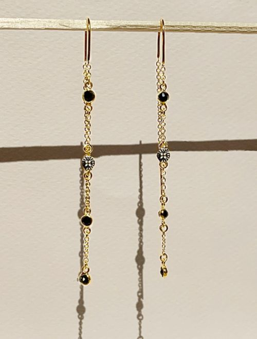 Sitara Earrings - Black Zircons