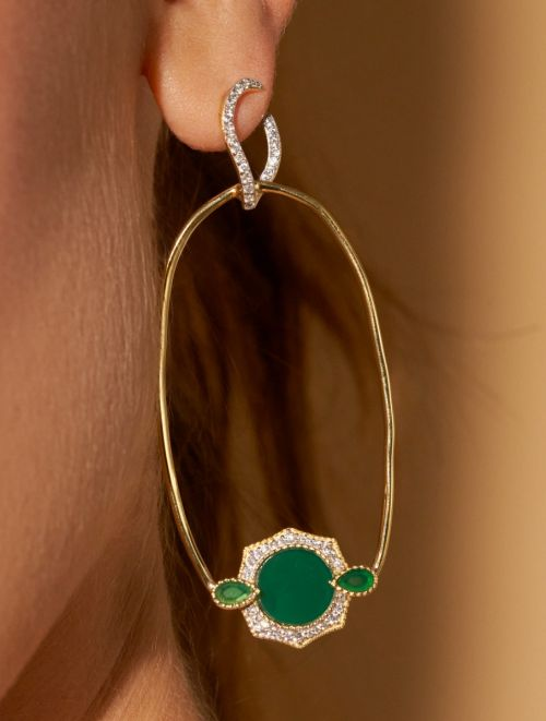 Boucles d'oreilles Janih - Onyx Vert