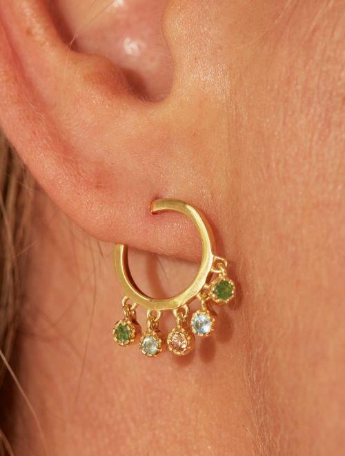 Boucles d'oreilles Mahdi - Aventurine, Calcédoine Bleue et Prehnite