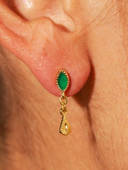 Mono boucle d'oreille Nala - Onyx Vert