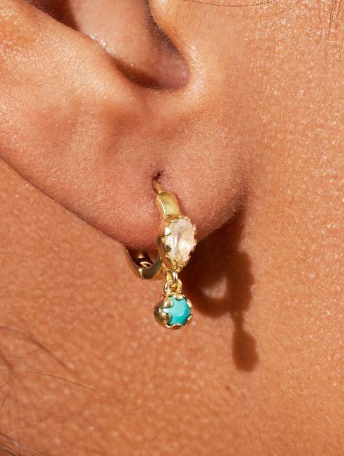 Boucles d'oreilles Safra - Pierre de Lune et Turquoise