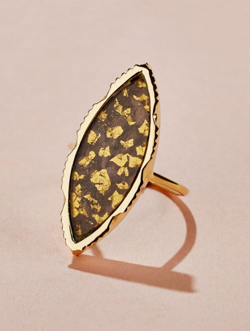 Anji Ring - Textured Onyx with gold foils