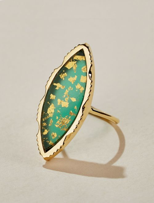 Anji Ring - Green Onyx with gold foils
