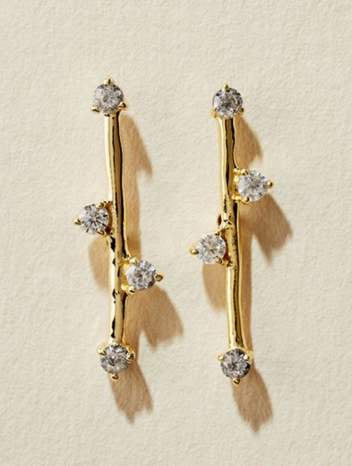 Delia Earrings - White Zircons