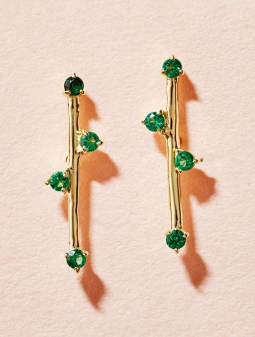 Delia Earrings - Green Zircons