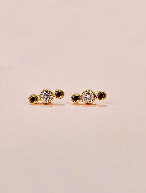 Dori Earrings - White and Black Zircons