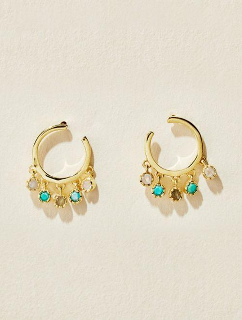 Boucles d'oreilles Mahdi - Pierre de Lune, Turquoise et Labradorite