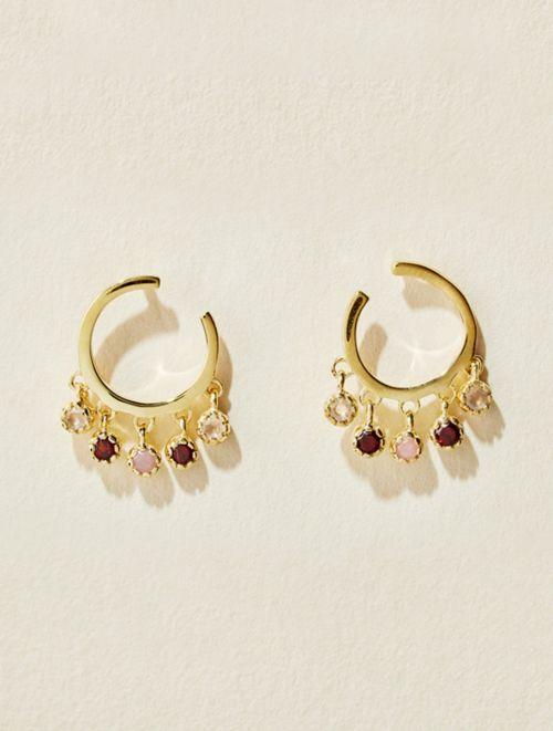 Boucles d'oreilles Mahdi - Quartz Rose, Grenat et Opale Rose