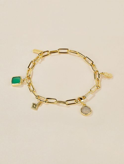 Arya Bracelet - Green Onyx and Moonstone