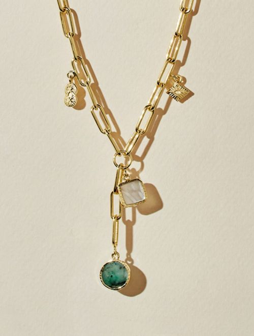 Arya Long Necklace - Mother of Pearl and Emerald