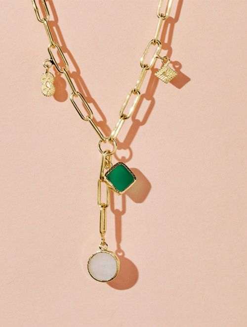 Arya Long Necklace - Green Onyx and Moonstone