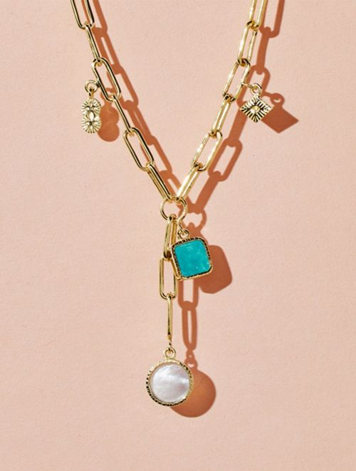Arya Long Necklace - Turquoise and Mother of Pearl