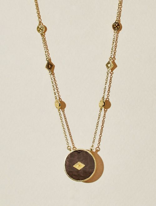 Sanja Long Necklace - Textured Onyx