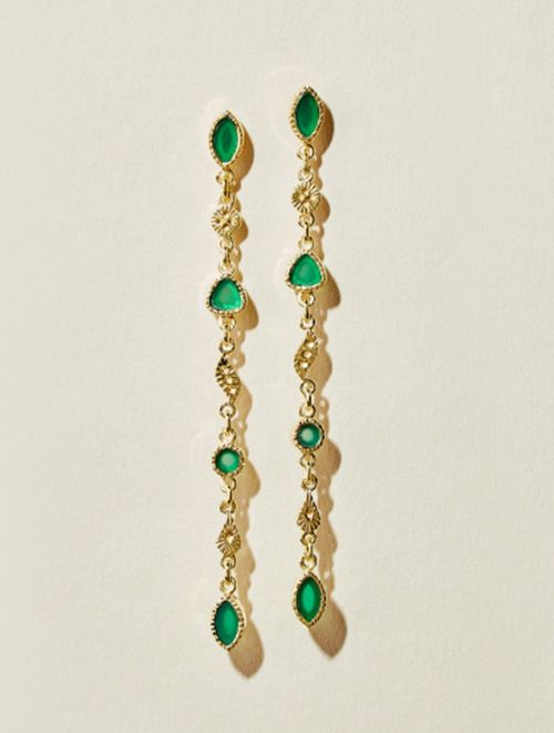 Macha Earrings - Green Onyx