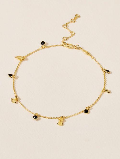 Bracelet de Cheville Nati - Zircons Noirs