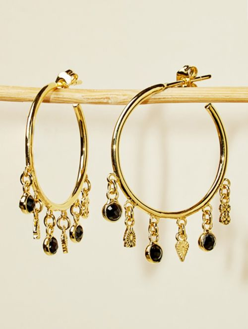 Nati Earrings - Black Zircons