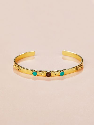Nati Cuff - Turquoise and Textured Onyx