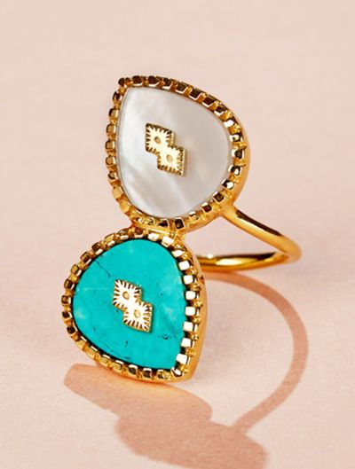Bague Oma - Nacre et Turquoise