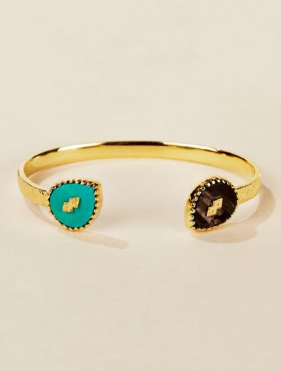 Oma Cuff - Turquoise and Textured Onyx