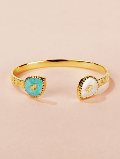 Oma Cuff - Turquoise and Mother of Pearl