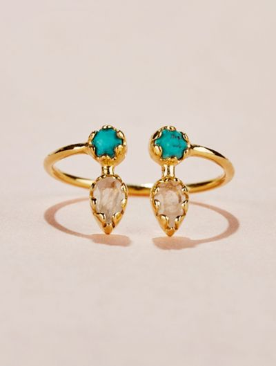 Safra Ring - Turquoise and Moonstone