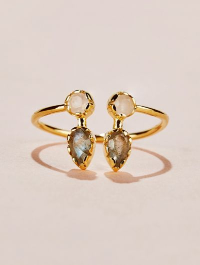 Safra Ring - Moonstone and Labradorite
