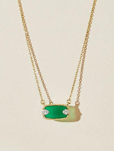 Sangha Necklace - Green Onyx