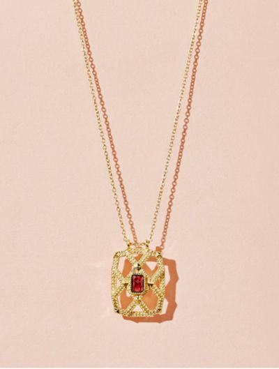 Saba Long Necklace - Garnet