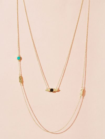 Nati Necklace - Turquoise and Textured Onyx