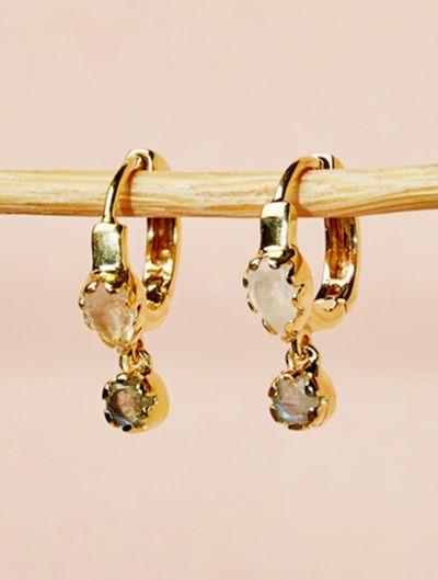 Safra Earrings - Moonstone and Labradorite
