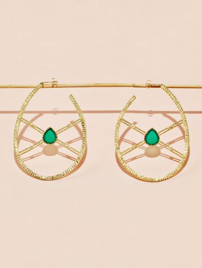 Oma Earrings - Green Onyx
