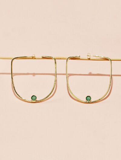 Roka Earrings - Green Onyx