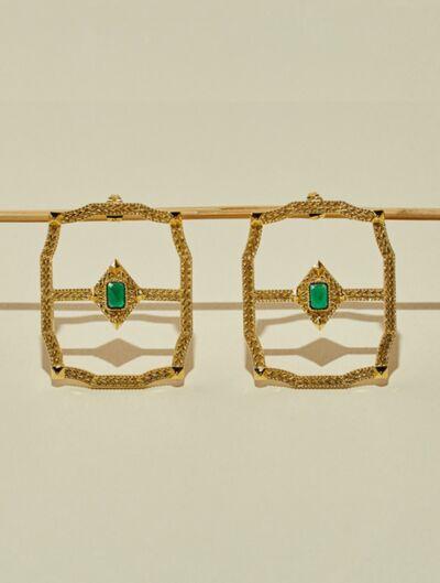 Saba Earrings - Green Onyx
