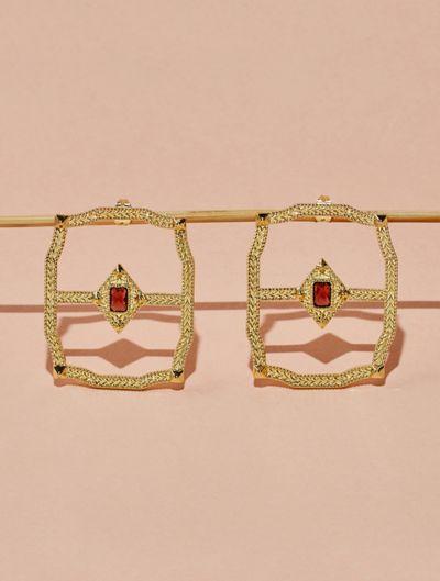 Saba Earrings - Garnet