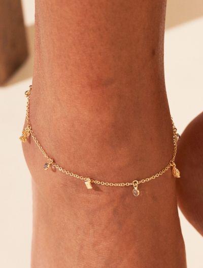 Bracelet de Cheville Nati - Zircons Blancs