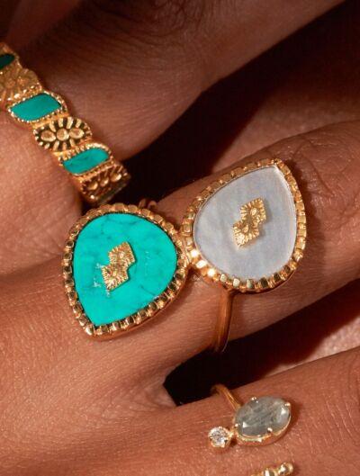 Bague Oma - Nacre et Turquoise