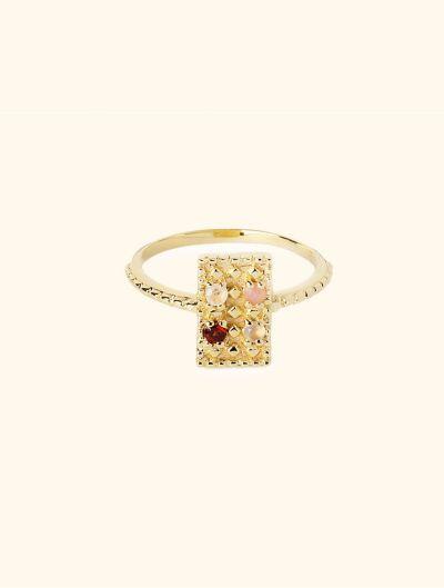 Mahdi Ring - Rose Quartz, Garnet, Pink Opale and Moonstone