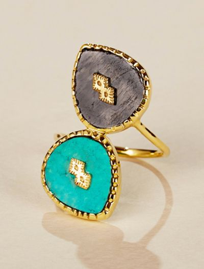 Oma Ring - Turquoise and Textured Onyx