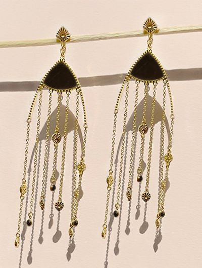 Boucles d'oreilles Mina - Onyx Texturé