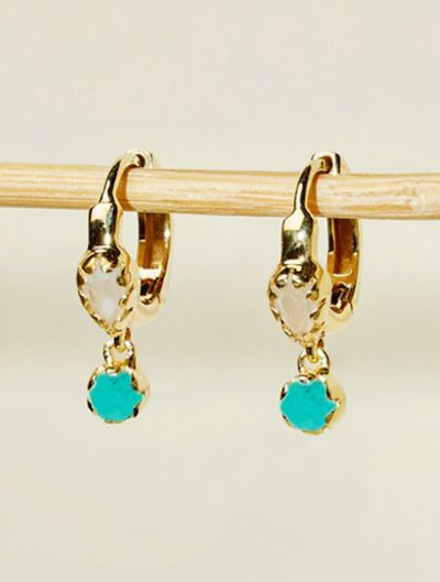 Safra Earrings - Moonstone and Turquoise