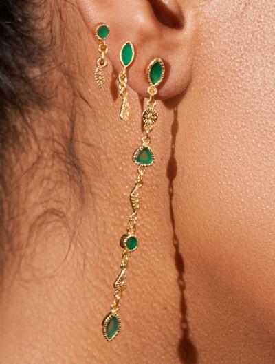 Boucles d'oreilles Macha - Onyx Vert