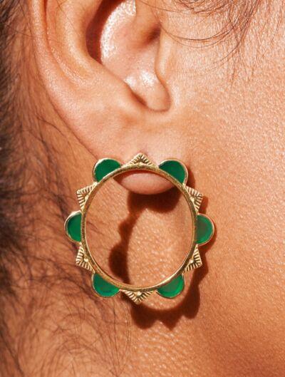 Boucles d'oreilles Malka - Onyx Vert