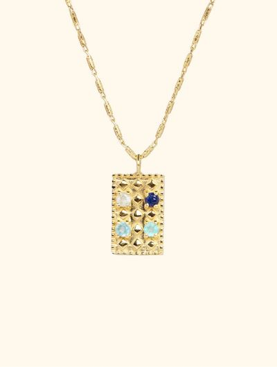 Mahdi Necklace - Aquamarine, Saphir, Blue Chalcedony and Green Chalcedony