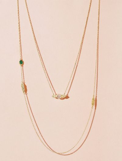 Nati Necklace - Green Onyx and Moonstone