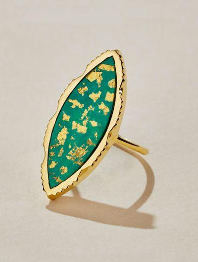 Bague Anji - Turquoise recouverte de feuilles d'or