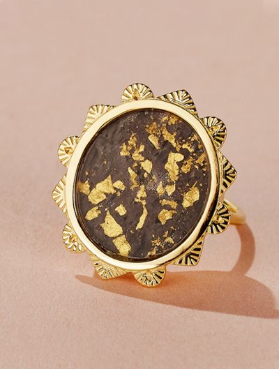 Malka Ring - Textured Onyx covered with gold foils