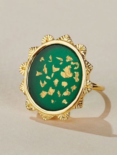 Malka Ring - Green Onyx covered with gold foils
